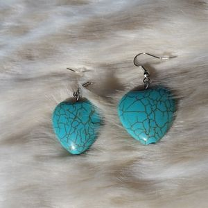 NWT Large Heart Turquoise Earrings
